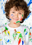 Funny child with painted face Royalty Free Stock Image