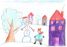 Funny child playing near a snowman. Child drawing Stock Image