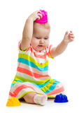 Funny child playing toys Stock Images