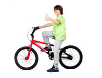 Funny child practicing bike Royalty Free Stock Photo