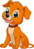 Funny child`s dog. Vector illustration of a funny child`s dog sitting and smiling, coloring pagenn Stock Photography