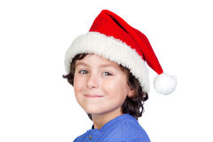 Funny child with Santa hat Stock Photography