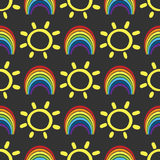 Funny child seamless pattern with rainbows and suns. Drawn by hand. Red, orange, yellow, green, blue, purple, black. Vector illustration Royalty Free Stock Images