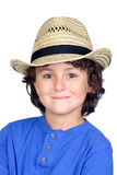 Funny child with straw hat Royalty Free Stock Image