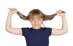 Funny child stretchin long hair Stock Image