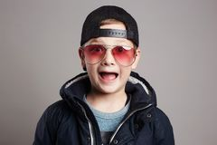 Funny child in sunglasses.Fashionable boy Royalty Free Stock Photo