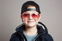 Funny child in sunglasses.smiling little boy Stock Photo