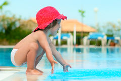 Funny child in sunhat Stock Images