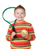Funny child with a tennis racket Royalty Free Stock Image