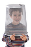 Funny child with the trash in the head. On a white background Stock Images