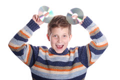 Child with DVD disc Stock Images
