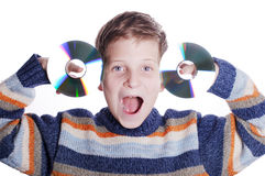 Child with DVD disc Stock Photography