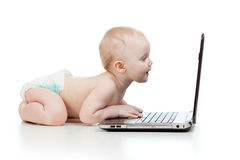 Funny child using a laptop Stock Image
