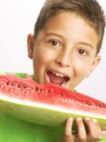 Funny child watermelon. Stock Image