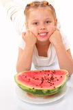 Funny child with watermelon Stock Photography