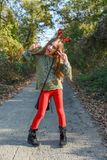 Funny child wearing Christmas reindeer horns royalty free stock photography