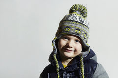 Funny child.winter fashion kids.smiling fashionable little boy Stock Photo