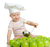Funny Child With Green Apples Healthy Food Royalty Free Stock Photos
