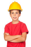 Funny child with a yellow helmet Royalty Free Stock Image