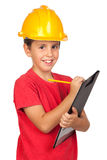 Funny child with a yellow helmet Stock Photography