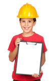 Funny child with a yellow helmet Stock Images