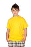 Funny child with yellow t-shirt Royalty Free Stock Image