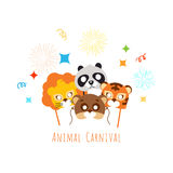 Funny Childish Animal Masks for Animal Carnival Royalty Free Stock Images