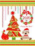 Funny childish applique for 2018 New year with Xmas tree, Christmas wreath and funny sitting puppy Stock Photos