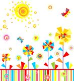 Funny childish seamless applique with abstract paper flowers Stock Photography