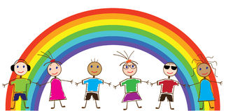 Funny children. Illustration of funny children and a rainbow