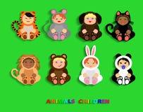 Funny children in animal costumes vector illustration