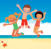 Funny children on the beach Stock Images