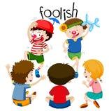 Funny children being foolish. Illustration royalty free illustration