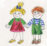 Funny children - a boy and a girl Stock Photo