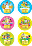 Funny children calendar. The illustration shows the calendar grid for the first half 2014 year . Done in background funny cartoon drawings of children, on stock illustration