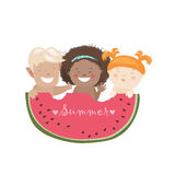 Funny children eating watermelon Royalty Free Stock Image