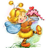 Funny Children Fairy Background. Watercolor Drawing Royalty Free Stock Photos