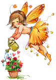 Funny Children Fairy Background. Watercolor Drawing Stock Photography