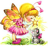 Funny children Fairy background. watercolor drawing Stock Images