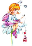 Funny children Fairy background. watercolor drawing Royalty Free Stock Images