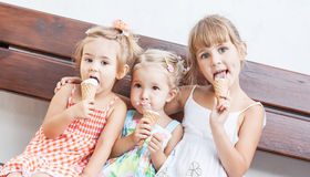 Funny Children Girls Eating Ice Cream Royalty Free Stock Photo