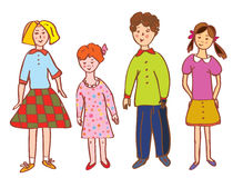 Funny children group cartoon Royalty Free Stock Image
