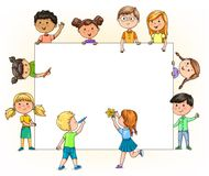 Funny children hold and paint blank banner with your pencils for. Bright funny children hold and paint blank banner with your pencils for your text Stock Photos