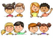 Funny children in pairs different nationalities holding banner. Bright Funny children in pairs different nationalities holding banner stock illustration