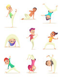 Funny Children practice capoeira movement. Cartoon design character. Vector illustration. Royalty Free Stock Photo