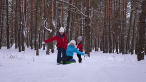 Funny children ride their mom on sled and an inflatable snow tube in pine forest. happy family mom and kids playing in stock photography