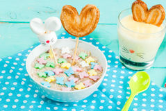 Funny children`s Breakfast at Easter Stock Photos