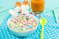 Funny children`s Breakfast at Easter Stock Photo