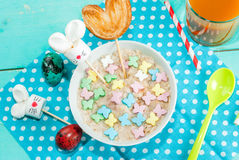 Funny children`s Breakfast at Easter Stock Photography
