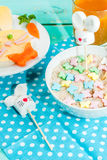 Funny children`s Breakfast at Easter Royalty Free Stock Photography